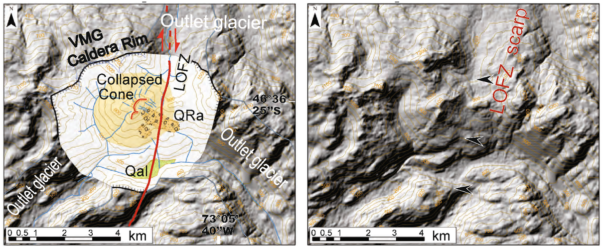 Satellite images of the area which the authors used to identify features related to the volcano.