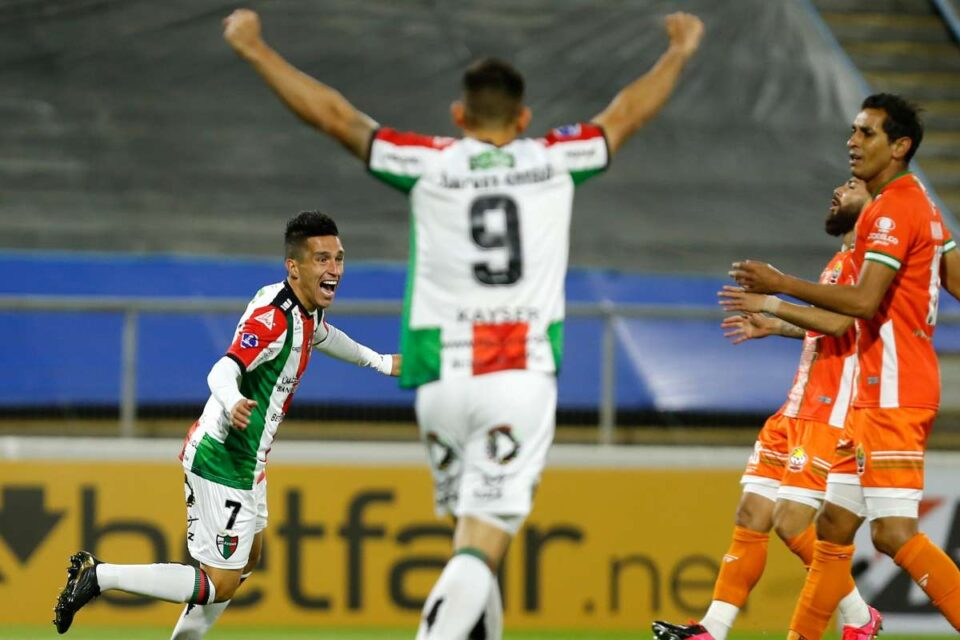 Carrasco celebrates after opening the scoring for Palestino