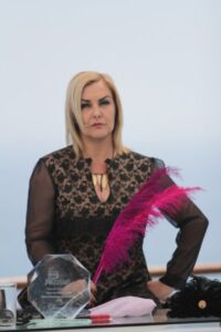 Pamela Jiles and her iconic pink feather